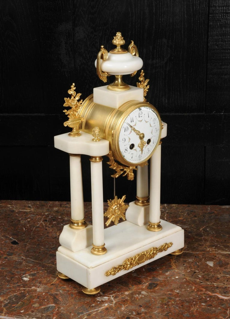 Antique French White Marble and Ormolu Portico Clock For Sale 4