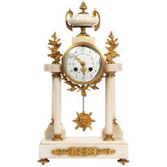 Antique French White Marble and Ormolu Portico Clock