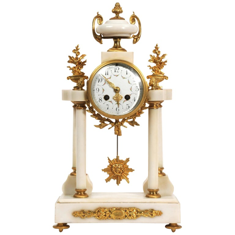 Antique French White Marble and Ormolu Portico Clock For Sale