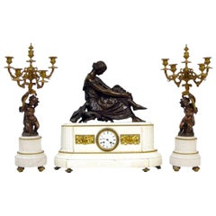 Antique French White Marble Bronze Clock Set Candelabras, Pradier, circa 1870