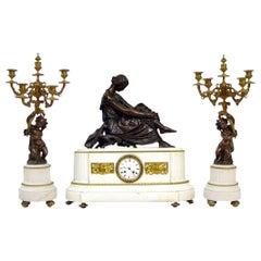Antique French White Marble Bronze Clock Set Candelabras, Pradier, circa 1870