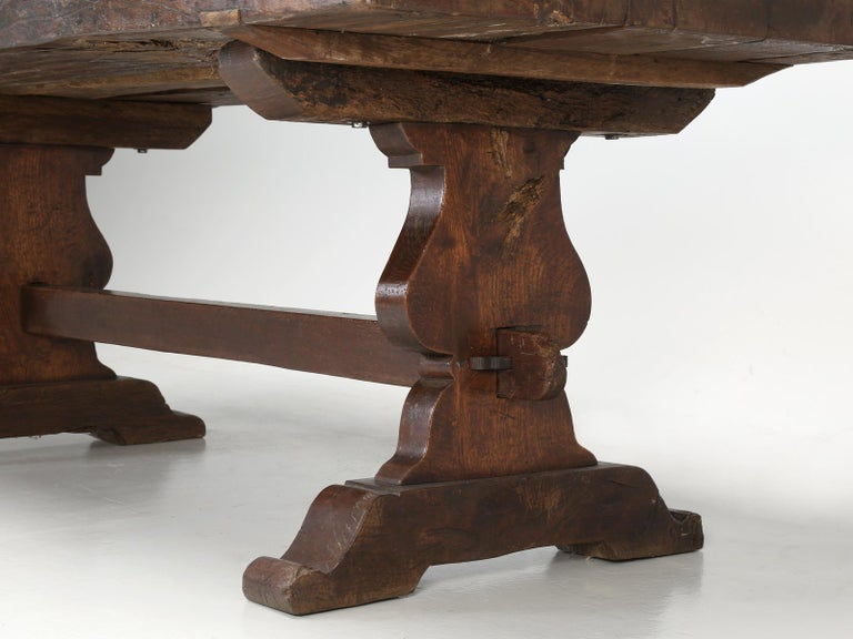 Antique French White Oak trestle Dining Table in Beautiful Original Condition 4