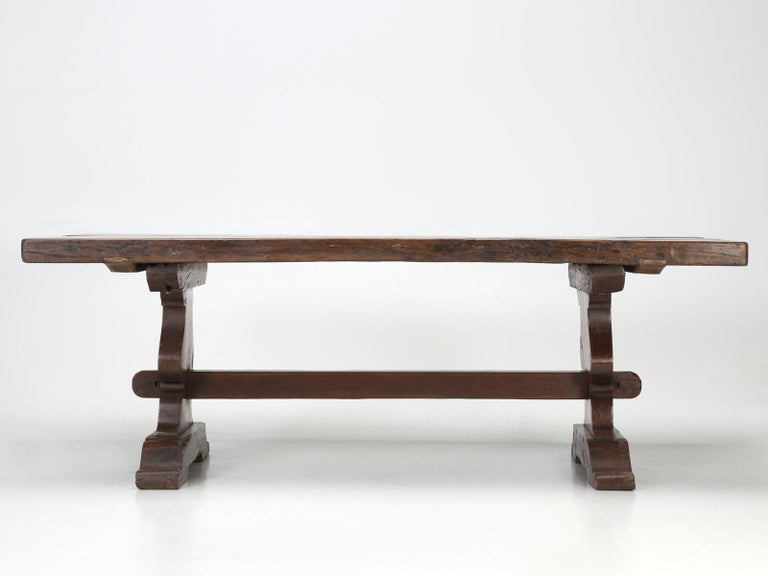 Antique French White Oak trestle Dining Table in Beautiful Original Condition 9