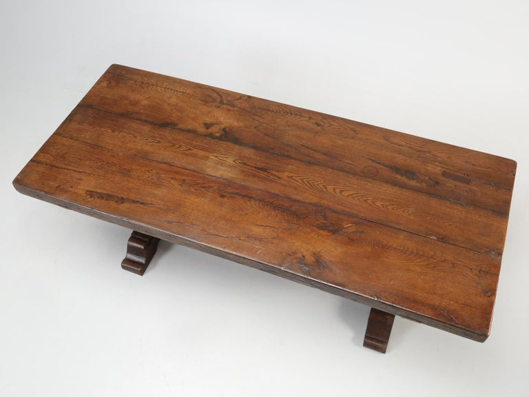 Antique French farm house trestle table and when one thinks about, what an old French farm house trestle should look like, this antique French dining table hits the spot dead-on. When you take a hard look at the top, of this antique French trestle