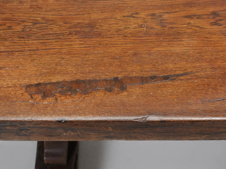 Hand-Crafted Antique French White Oak trestle Dining Table in Beautiful Original Condition