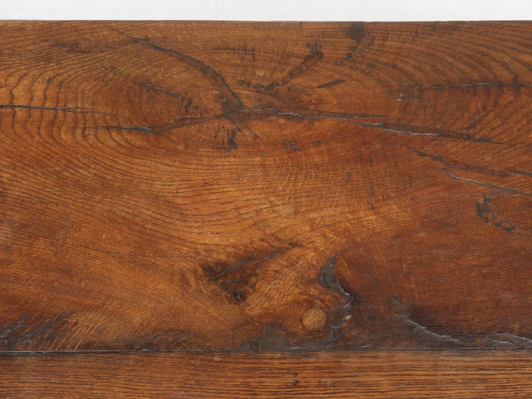 Late 19th Century Antique French White Oak trestle Dining Table in Beautiful Original Condition