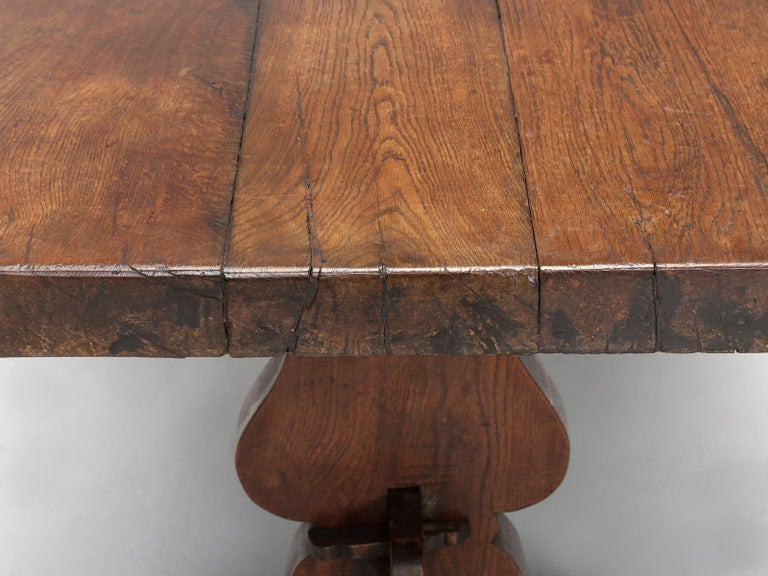 Antique French White Oak trestle Dining Table in Beautiful Original Condition 3