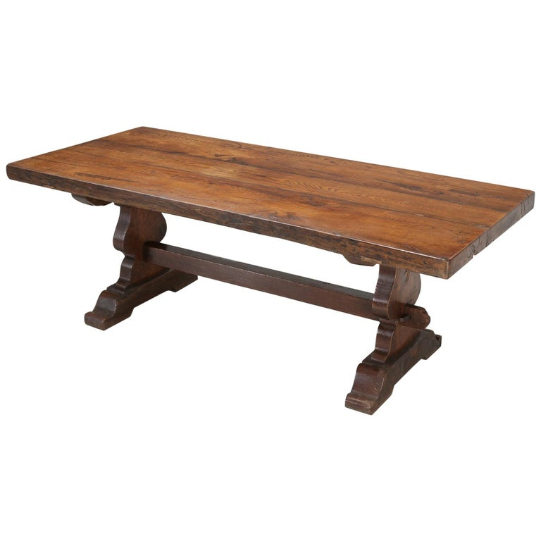 Antique French White Oak trestle Dining Table in Beautiful Original Condition
