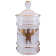 Antique French White Opaline Empire Jar with Gold Gilded Detail