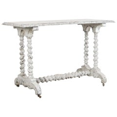 Antique French White Painted Table on Wheels