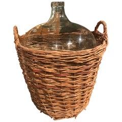 Antique French Wicker Wine Demijohn Jug