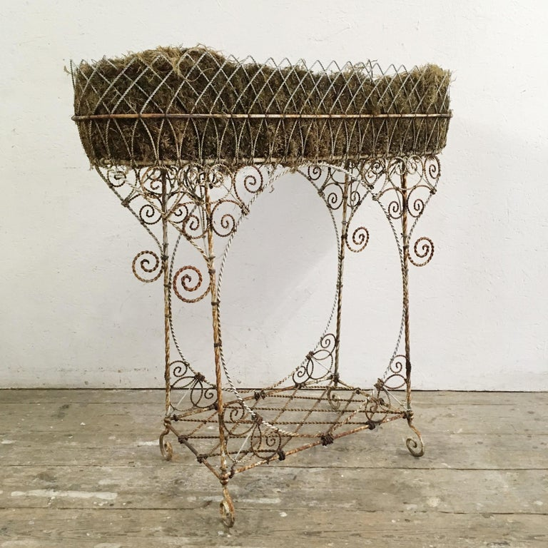 Hand-Crafted Antique French Wirework Jardinière Plant Stand For Sale