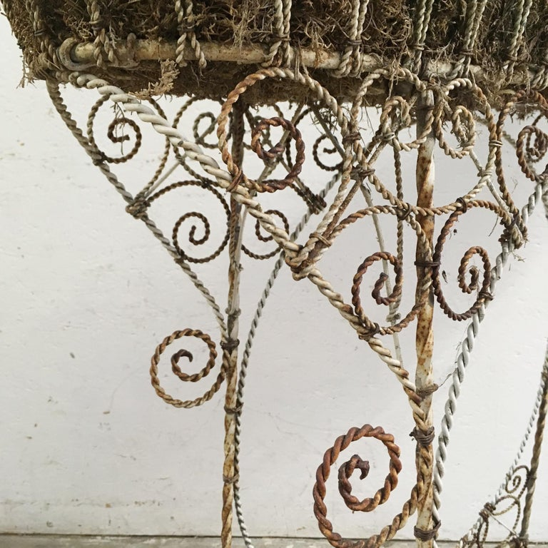 20th Century Antique French Wirework Jardinière Plant Stand For Sale