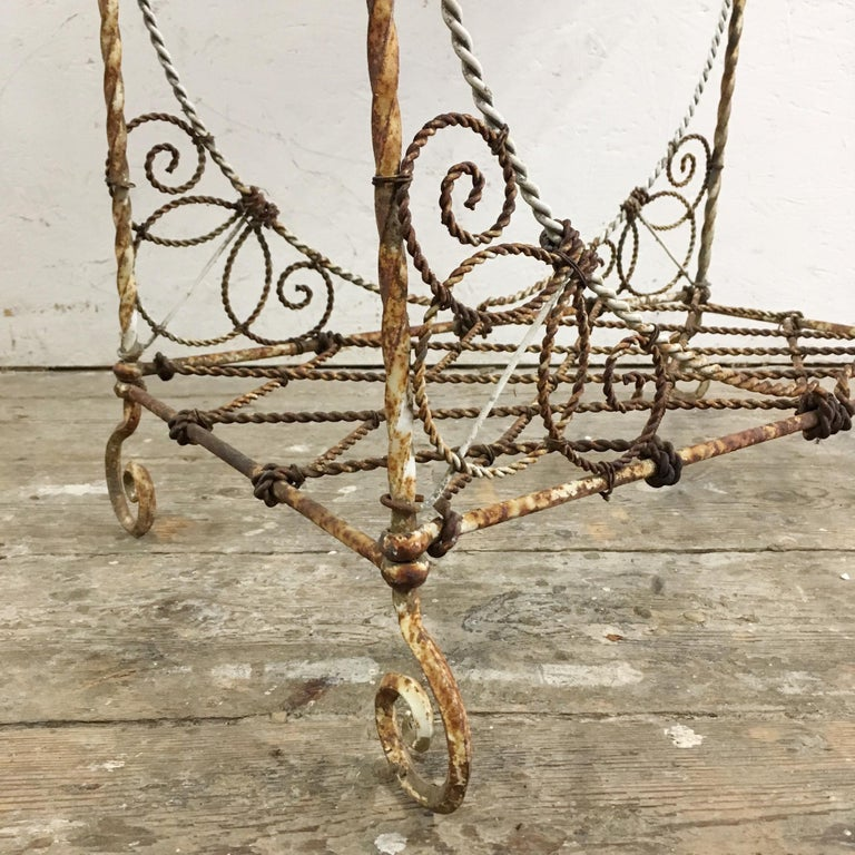Metal Antique French Wirework Jardinière Plant Stand For Sale