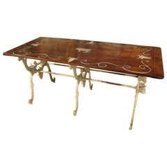 Antique French Wood and Iron Butchers Table, Late 19th Century