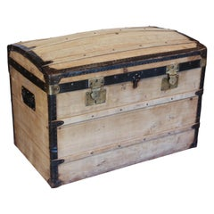 Antique French Wood and Iron Dome Top Trunk, circa 1900