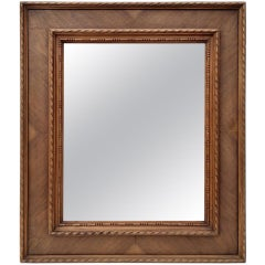Antique French Wood and Marquetry Mirror, circa 1940