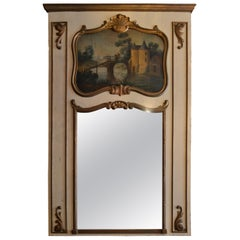 Antique French Wood Trumeau Mirror with Multi-Color Landscape Scene, circa 1920