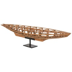Antique French Wooden Boat Model on Custom Stand, Turn of the Century