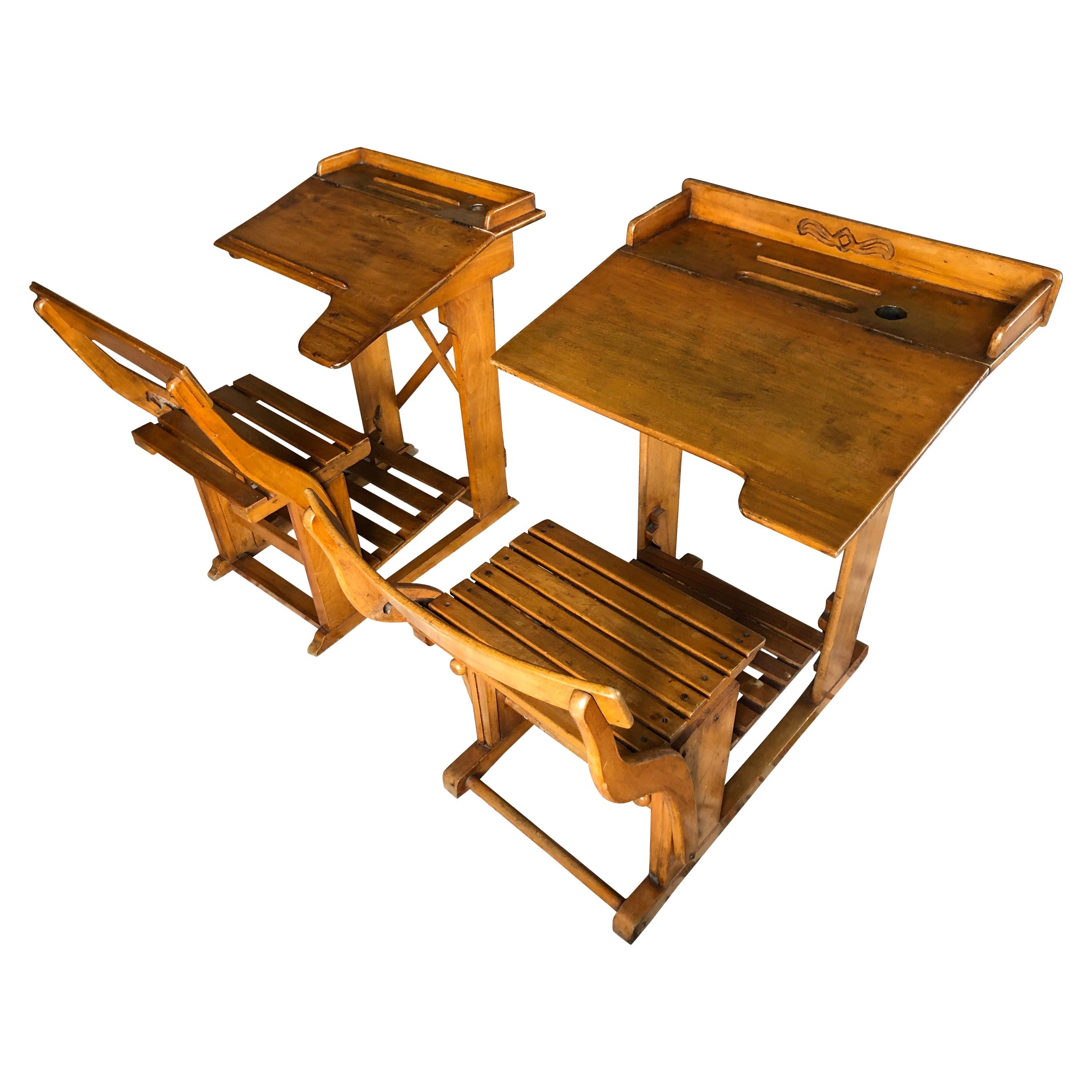 Antique French Wooden Children's Writing Tables Desks and Adjustable Seats