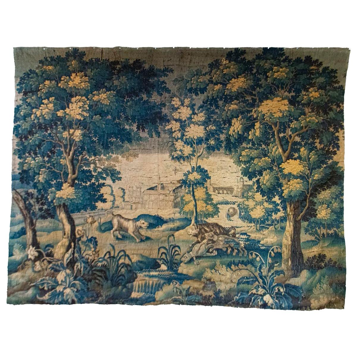 Antique French Wool Aubusson Tapestry