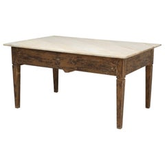 Antique French Work Table or Kitchen Island with a Marble Top