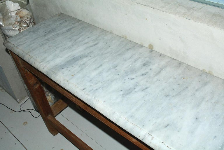 Country Antique French Work Table or Server with Marble Top For Sale
