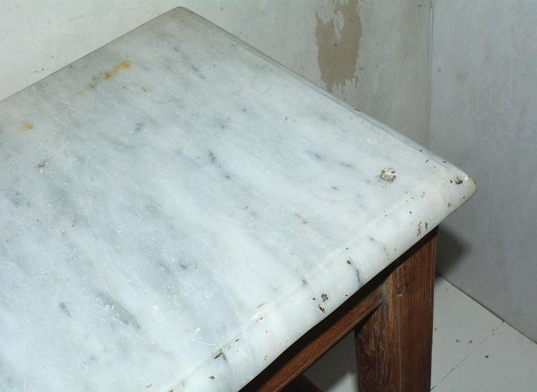 Antique French Work Table or Server with Marble Top In Good Condition For Sale In Great Barrington, MA