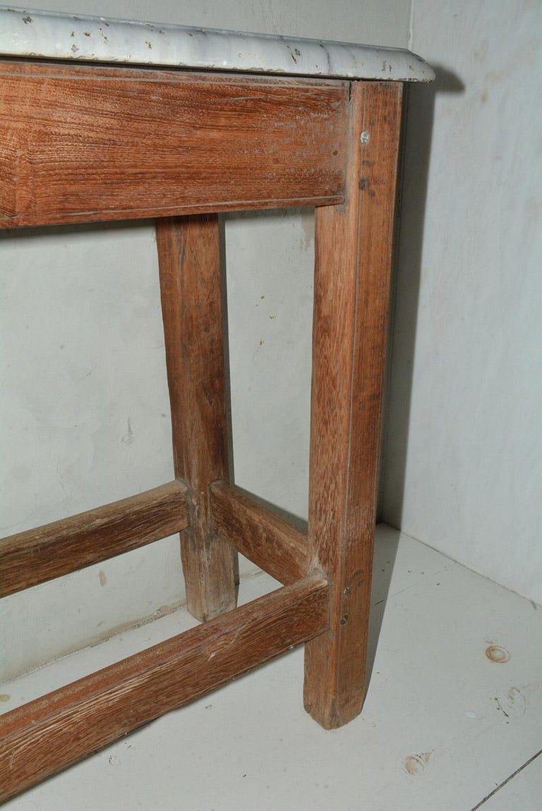 19th Century Antique French Work Table or Server with Marble Top For Sale