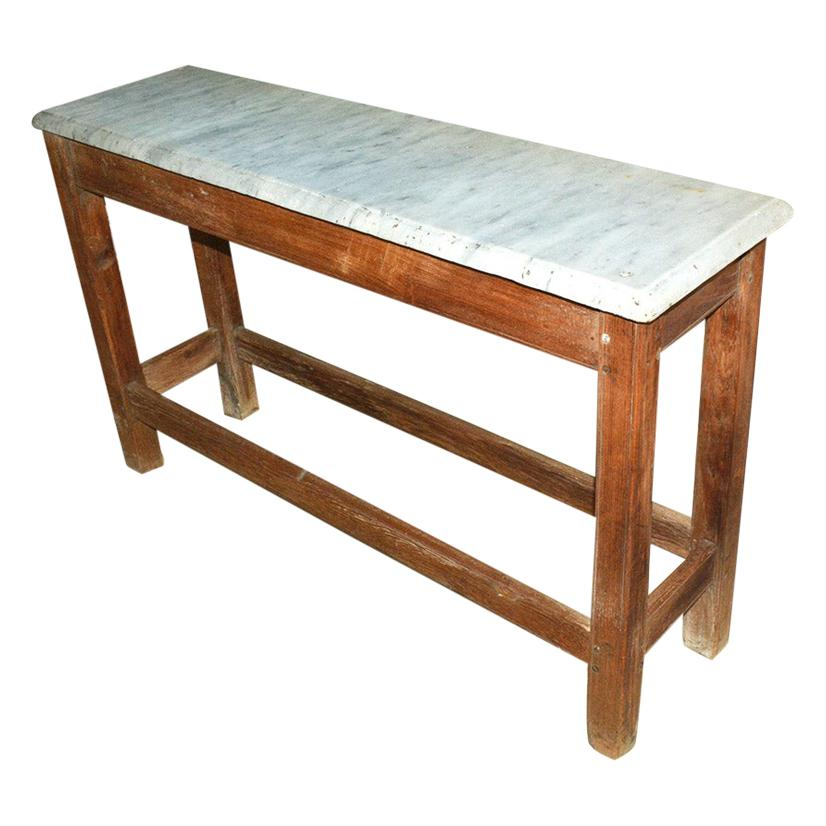 Antique French Work Table or Server with Marble Top