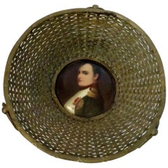 Antique French Woven Basket with Portrait of Napoleon
