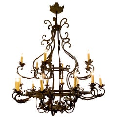 Antique French Wrought Iron 18-Light Chandelier with Grape Clusters