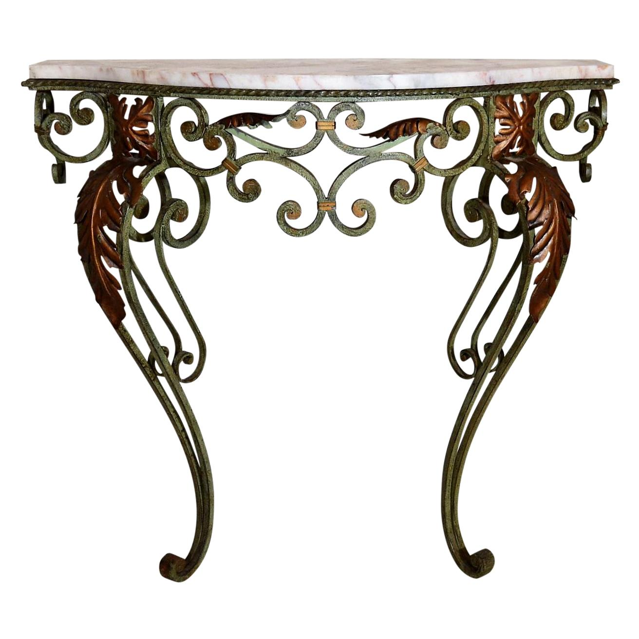 Antique French Wrought Iron and Marble Console