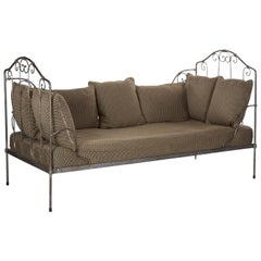 Antique French Wrought Iron Campaign Style Daybed Sofa