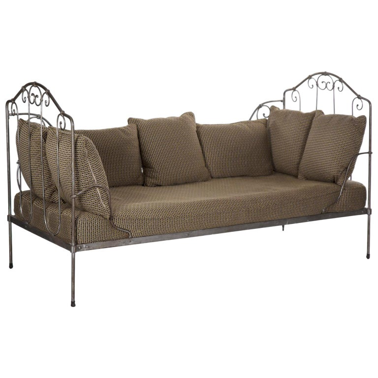Awe Inspiring Antique French Wrought Iron Campaign Style Daybed Sofa Alphanode Cool Chair Designs And Ideas Alphanodeonline