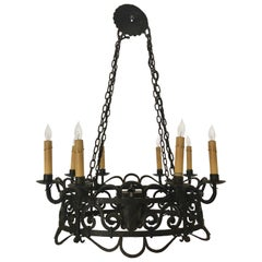 Antique French Wrought Iron Chandelier, circa 1880