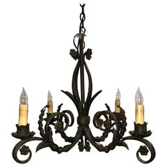 Antique French Wrought Iron Chandelier, circa 1890