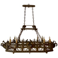 Antique French Wrought Iron Chandelier, circa 1920