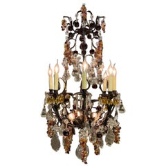 Antique French Wrought Iron Chandelier with Multicolored Crystal Fruit Pendants