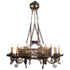 Antique French Wrought Iron Chateau Light Fixture, circa 1820-1840