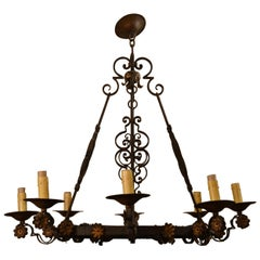 Antique French Wrought Iron Eight-Light Fixture with Floral Detail, circa 1890