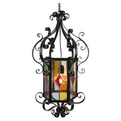 Antique French Wrought Iron Lantern with Leaded Glass