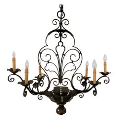 Antique French Wrought Iron Light Fixture