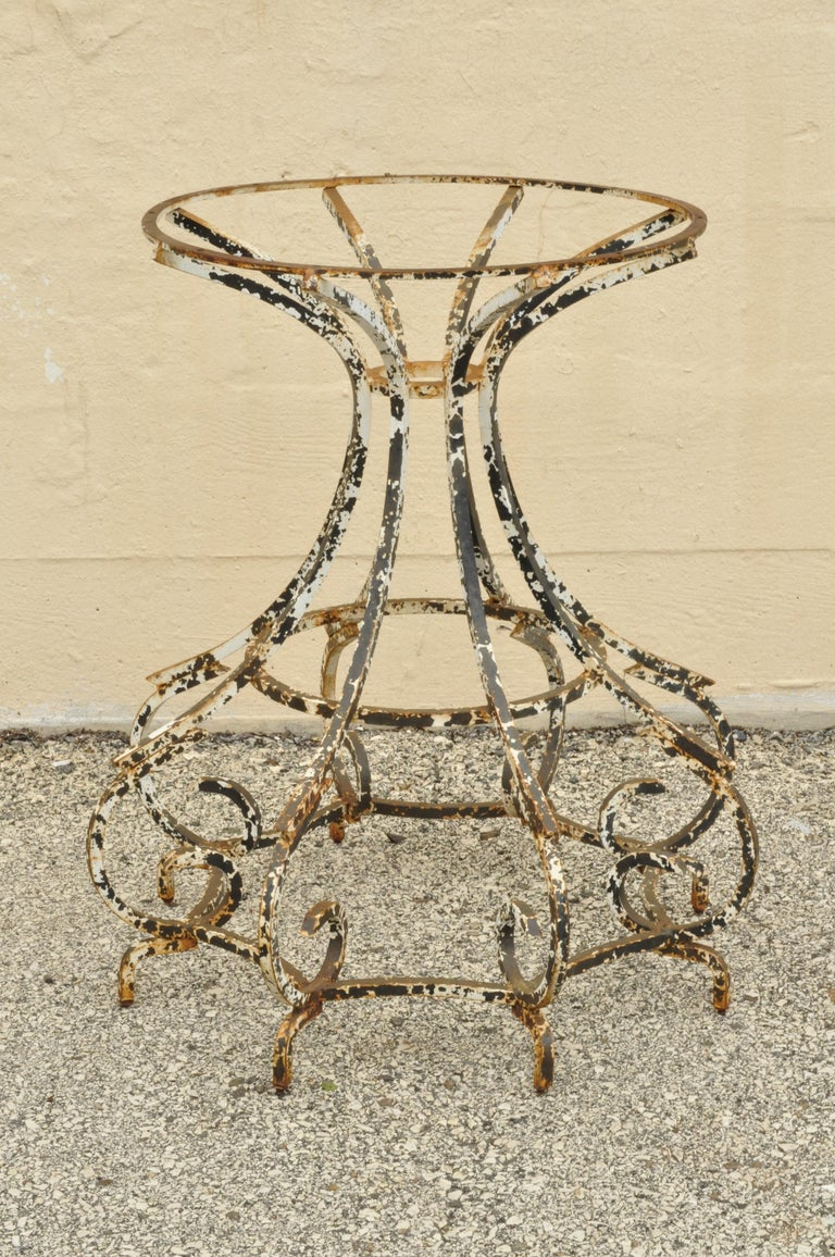 Antique French Wrought Iron Round Scroll Spider Leg Pedestal Dining Table Base