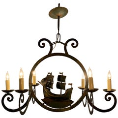 "Antique French Wrought Iron ""Ship"" Chandelier, circa 1900"