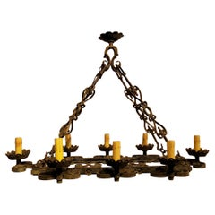 Antique French Wrought Iron Tavern Style Fixture, circa 1890