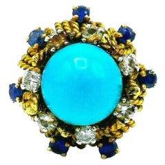 Antique French Yellow Gold Turquoise Sapphire Diamond Cocktail Ring