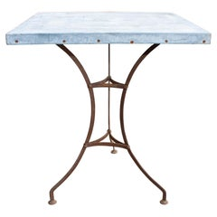 Antique French Zinc Top Bistro Table with Iron Base