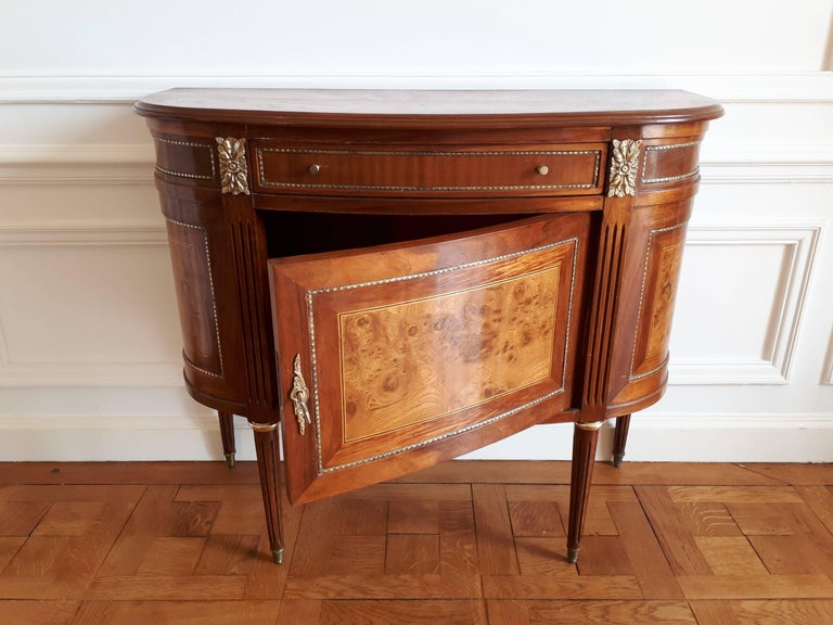 Bronze Antique French, Louis XVI Style Chest of Drawers Commode Buffet Marquetry For Sale