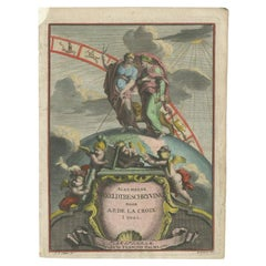 Antique Frontispiece with Allegorical Figures, a Globe and Zodiac Signs, 1705